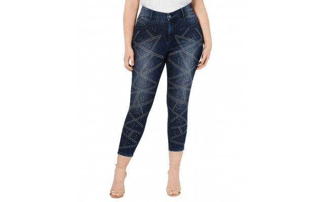 YSJ Plus Size Studded Ankle Jeans (Blue, 22W)