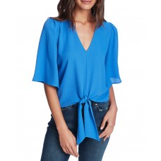 1.state Flounce-sleeve Tie-front Top (Blue, Small)