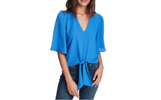 Flounce-sleeve Tie-front Top (Blue, Small)