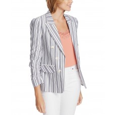 1.STATE Striped Ruched-Sleeve Blazer (Natural)