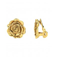 1928 14K Gold-Dipped Flower Button Clip Earrings