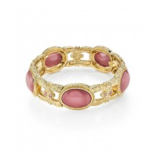 1928 Gold Tone Pink Moonstone Stretch Bracelet