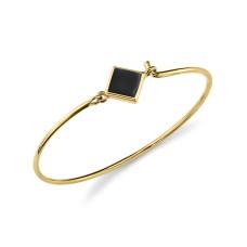 1928 Jewelry 14K Gold Dipped Diamond Shaped Enamel Wire Bangle Bracelet, Black