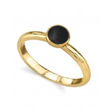 1928 Jewelry 14K Gold Dipped Small Round Enamel Ring (7)