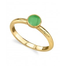 1928 Jewelry 14K Gold Dipped Small Round Minimalist Enamel Ring (Green,7)