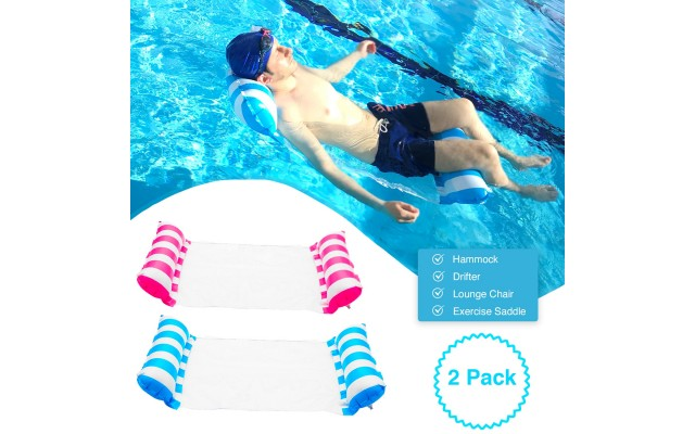2 Pack Inflatable Water Hammock, Air Mattress, Aqua Lounger & Floating Sleep Pillow for Swimming Pool or Beach – Foldable & Easy to Carry, 2 Pack (Blue+Pink)