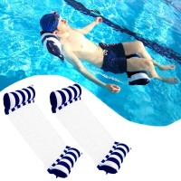 2 Pack Inflatable Water Hammock, Air Mattress, Aqua Lounger & Floating Sleep Pillow for Swimming Pool or Beach – Foldable & Easy to Carry, 2 x Navy