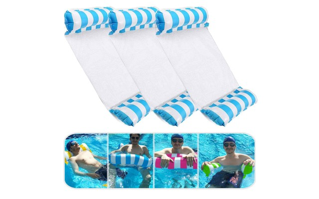 3 Pack Premium Inflatable Aqua Portable Summer Water Hammock Bed, Chair, Lounger Float for Adults, 3 x Blue