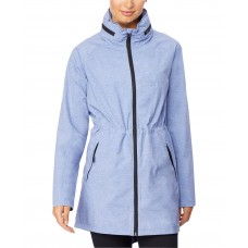 32 Degrees Hooded Cinched-Waist Anorak Raincoat (Blue Pearl, 2XL)