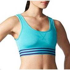 Adidas Women's Performance Adigirl 3 Stripe Bralette (Blue, Large)