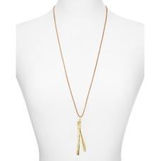 Alexandra Koumba Leather Wishbone Pendant Necklace, Gold,30″