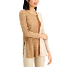Alfani Asymmetrical-Print Ribbed Turtleneck Sweater (Beige, Medium)