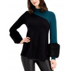 Alfani Colorblocked Sweater With Faux-Fur Cuffs