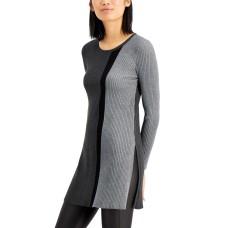 Alfani Colorblocked Tunic Sweater, Regular & Petite Sizes (Gray, Medium)