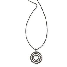 Alfani Hematite-Tone Pave Multi-Circle Pendant Necklace, 36″ + 2″ extender,Black