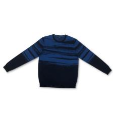 Alfani Men's Abstract Cotton Sweater (Navy, Medium)