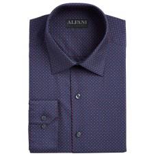 Alfani Men's AlfaTech Slim-Fit Stretch Geo-Print Dress Shirt (Navy Red, 14-14.5/32-33
