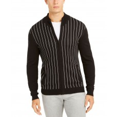 Alfani Men's Classic-Fit Vertical Stripe Full-Zip Cardigan (Black, L)