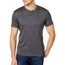 Alfani Mens Covered Placket Henley Shirt (Gray, S)