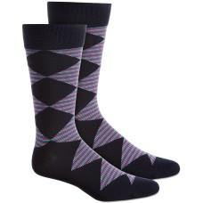 Alfani Men's Diamond Striped Sock, Pastel Blue