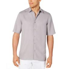 Alfani Men's Lagoon Stretch Linen Blend Classic Fit Shirt (Gray, S)