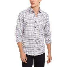 Alfani Mens Luke Plaid Shirt (White-X-Large)