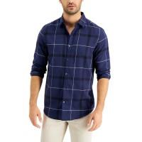 Alfani Men's Parsons Plaid Shirt (Navy, Small)