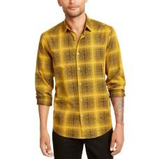 Alfani Men's Plaid Shirt, (Treasure Gold, XL)