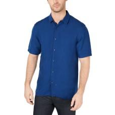 Alfani Men's Platoon Linen Shirt (Dark Blue, M)