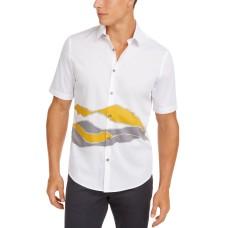Alfani Men's Printed Shirt (White, 2XL)