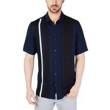 Alfani Men's Regular-Fit Bowler Stripe-Print Shirt, Navy