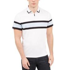 Alfani Men's Regular-Fit Stripe Quarter-Zip Polo (Pastel Blue, XL)
