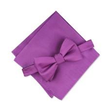 Alfani Mens Satin Pocket Square Bow Tie (Dark Purple)