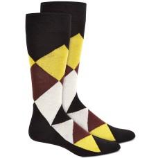 Alfani Men's Simple Argyle Socks, Black/Yellow