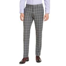 Alfani Men's Slim-Fit Stretch Gray Plaid Suit Pants (Gray, 32X32)