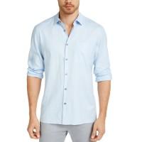 Alfani Mens Solid Linen Shirt Cielo