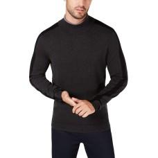 Alfani Mens Sweater Large Sleeve-Stripe Ribbed Knit Turtleneck (Gray, Large)
