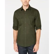 Alfani Men's Warren Long Sleeve Shirt (Green, X-Large)