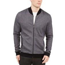 Alfani Mens Zip-front Sweater Jacket (Deep Black Combo, L)