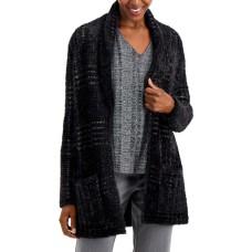 Alfani Plaid  Open Front Fashion Cardigan (Black, Medium)