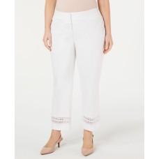 Alfani Plus Size Lace-Inset Capri Tummy-Control Pants