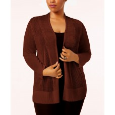 Alfani Plus Size Mixed-Stitch Open-Front Cardigan