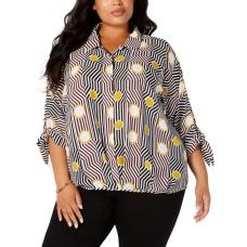 Alfani Plus Size Printed Tie-Cuff Blouse 3X – Yellow