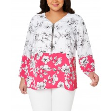 Alfani Plus Size Printed V-Neck Zip-Front Blouse 3X – Pink