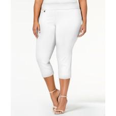 Alfani Plus Size Pull On Capri Pants In Bright White