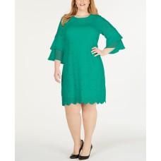 Alfani Plus Size Ruffle-Cuff Floral-Lace Dress