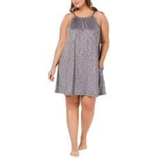 Alfani Scoop-Neck Knit Chemise Nightgown,Oxford (Heather Grey, 2X)