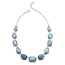 Alfani Silver-Tone Multi-Stone Statement Necklace (17+2)
