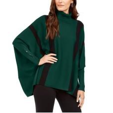 Alfani Striped Poncho Sweater (Green, Large)