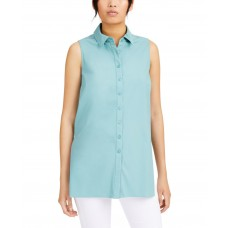 Alfani Womens Blue Sleeveless Collared Button Up Top (Green, Large)